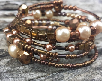 Autumn-Toned Glass Bead & Cream Pearl Memory Wire Bracelet