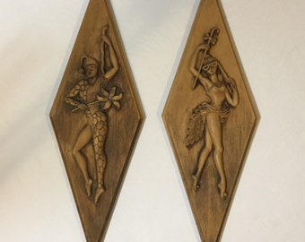 Dancing Harlequins Wall Plaques Made by Turner Manufacturing Company