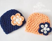 Twin Baby Girl Hats, Twin Crochet Hats, Hospital Twin Hats, Baby Girl Outfits, Twin Baby Outfits, Newborn Twin, Peach and Navy  Newborn Hats