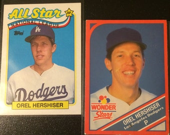 2 Vintage Collectible Cards - Orel Hershiser- Los Angeles Dodgers