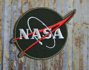 NASA Khaki White Writing Space Astronaut Station Iron On Patch Badge Clothing