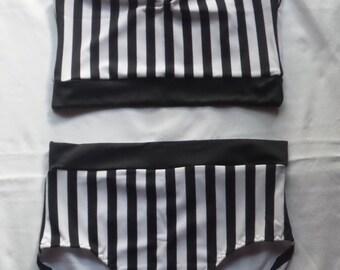 Black/white stripe bathers size 8
