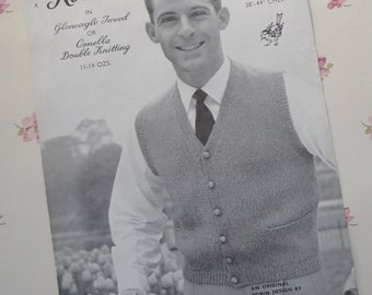 Vintage original 1950s Robin knitting pattern for a man's buttoned waistcoat designed by Amanda Laine