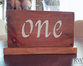 Rustic Hand Painted Wedding Table Signs - Custom Wedding Table Numbers