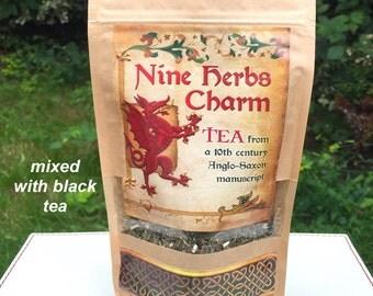 Mixed Anglo-Saxon Nine Herbs Charm Organic Tea & Black tea 50g Herbal Tea, Nine Sacred Anglo-Saxon Herbs, loose dried herbs