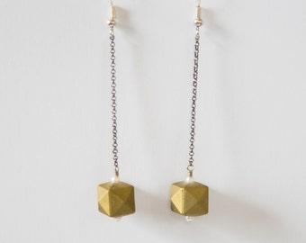 Long muted gold earrings