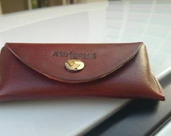 Handcrafted Eye wear case in leather.