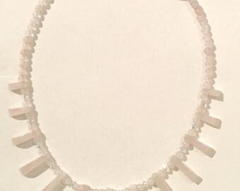 Rose Quartz and Swarovski Crystal Collarette