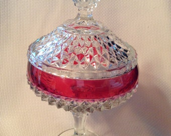 Vintage Indiana Glass Kings Crown Ruby Flash Diamond Point Candy Dish