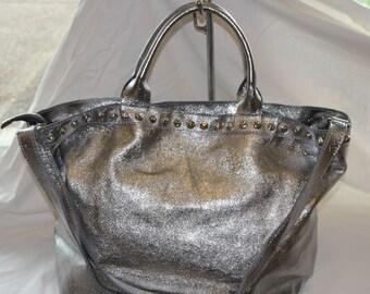 Silver leather bag bag made of genuine leather shoulder bag silver