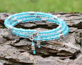 Ladies Bracelets - Triple Wrap Bracelets - Turquoise and Silver - Memory Wire Bangle - Beaded Memory Wire -