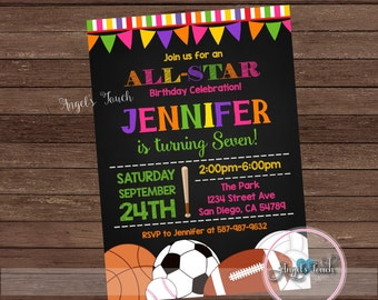 All Star Party Invitation, All-Star Birthday Invitation, All-Star Birthday Party Invitation for Girls, Sports Party Invitation, Digital File