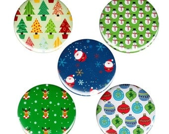 Christmas Patterns Button Badge Pin 5x Pack Happy Holidays Stocking Stuffers