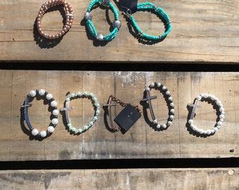 Cute beaded and cross bracelets!