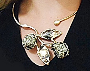 Necklace handmade in aged varnished brass with two pyrite stones