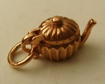 Genuine SOLID 9K 9ct ROSE GOLD 3D Teapot charm/pendant