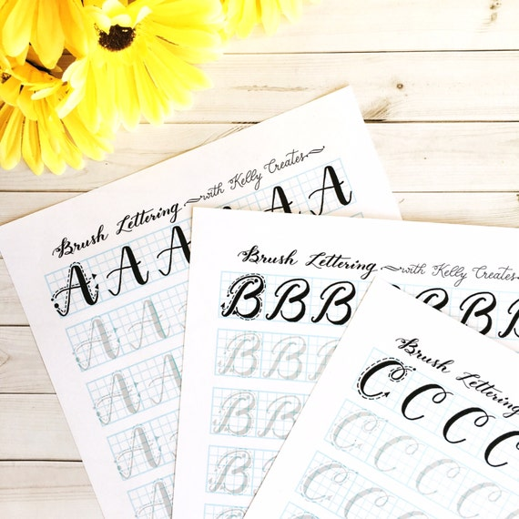 Capital letters brush lettering uppercase practice sheets