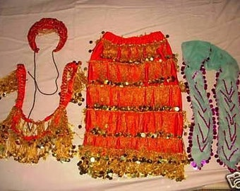 Ghawazee - Egyptian Gypsy Dance Costume Set with many fringes , Oriental dance, Belly dance Costume (used)