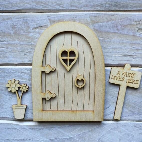 Wooden fairy door blank birch pywood pixie hobbit elf door for Wooden elf door