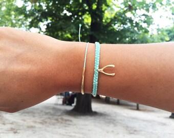 Bracelet wish bone in macrame handmade in gilded Tin