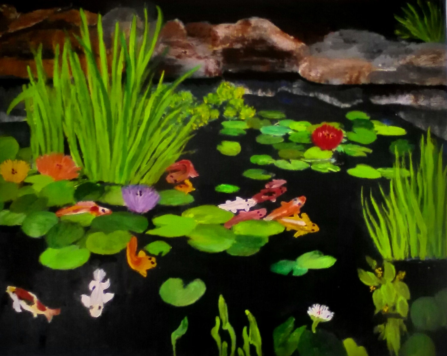 Koi pond koi fish colorful pondasian paintinglily for Colorful pond fish