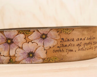 Guitar Strap - Personalized Leather Guitar Strap in the Smokey Pattern with Flowers in Anitque Brown - For Acoustic or Electric Guitars