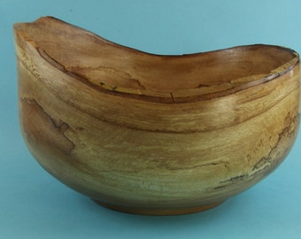 Fascinating natural edge green turned spalted sycamore bowl
