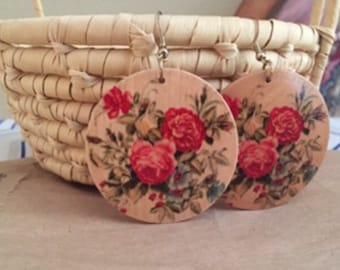Round Wooden Earrings/painted rose design/drop earrings