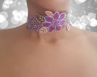 Lilac - Delicate Floral Embroidered Choker