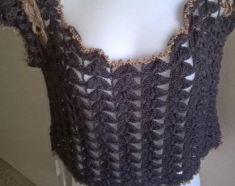 Top crochet grey anthracite silk, Bohemian