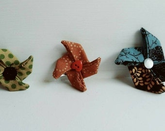Lot of 3 barrettes hair fabrics-shape origami
