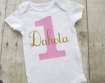 1st birthday shirt - first birthday baby bodysuit - personalized first birthday shirt - name baby bodysuit - baby girl 1st birthday shirt