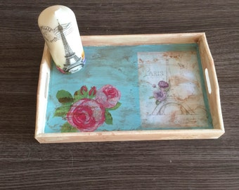 Tray wood decorative