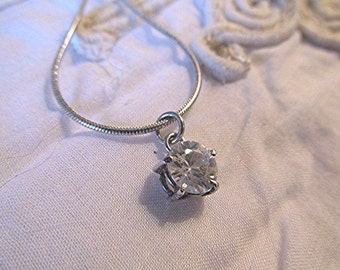 Cubic zirconia silver pendant necklace sterling silver chain vintage 90s made in England.