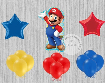 Super Mario Bros Birthday Balloons, Super Mario Party Decorations, Balloons, Sega Party, Super Mario Brothers Foil Mylar Latex Balloons