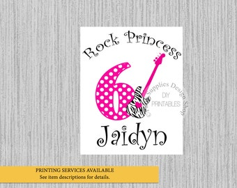 Rock Star Birthday Iron On, ANY AGE, Hot Pink Polka Dots Tshirt Printable, Rock Guitar Personalized Iron On, DIY,  Rock Party Supplies