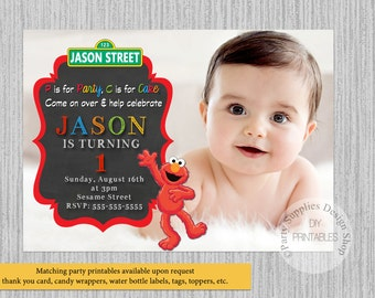 PRINTED or Digital Sesame Street Birthday Invitations, Elmo Party Supplies, Elmo Sesame Street Printable Invitations, Elmo Party Invitations