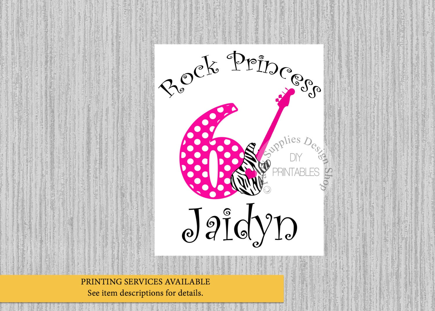 Design your own t-shirt hot pink - Rock Star Birthday Iron On Any Age Hot Pink Polka Dots Tshirt Printable Rock Guitar Personalized Iron On Diy Rock Party Supplies