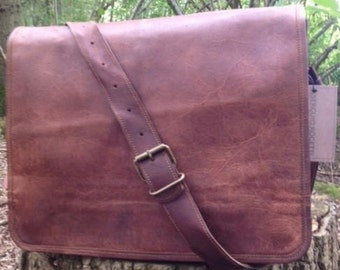 "15"" Hand Made Leather Post Satchel Briefcase Laptop Portfolio Messenger Bag Real Leather Post mans Bag"