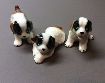Saint Bernard Dog Puppy Figurines - Japan - Vintage