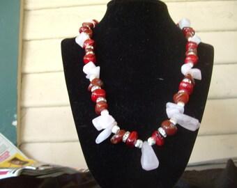Red Jasper and Rose quartz necklace