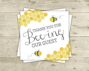 Bee Baby Shower - Favor Tags - Printable Thank You Cards - INSTANT DOWNLOAD