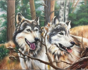 """Oil Painting of Wolves, 24""""x36"""", original on canvas"""