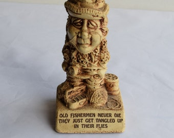 "Vintage 1982 Paula figurine ""Old fisherman never dies they just get tangled up in their flies""/ Paula silliscupt figurine"