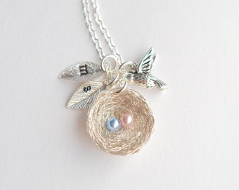 2 Eggs Bird's Nest Necklace, Personalized Nest, Angel Baby Memorial, Mom of an Angel Necklace, Pregnancy Loss Necklace, Miscarriage Jewelry