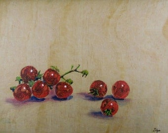 Cherry Tomatoes With Stems - Encaustic Painting Over Pyrography- Kitchen Art, Home Decor