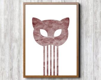 Cat Skull Print A3 Red