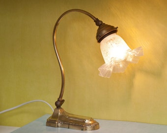 Lamp Tulip Art Deco vintage brass and opaline