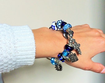 Fit for a Queen Handmade Royally Ornate Glass Bead Cuff Bracelet