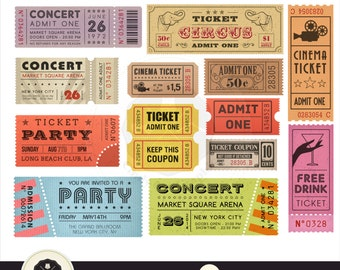 Tickets Clipart,Retro Tickets Clipart,Circus,Cinema,Movie,Party,digital download